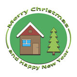 Maison et arbre d'image Noël et la nouvelle année Photos stock