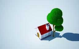 Maison et arbre de dessin animé Images libres de droits
