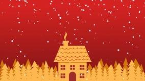 Maison et arbres d'or en chutes de neige Fond de Noël illustration stock