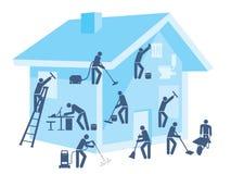 Maison et jardin de nettoyage Photos libres de droits