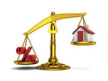 Maison et pour cent d'équilibre vers le bas Image stock