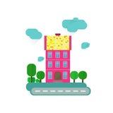 Maison européenne abstraite Rue avec des arbres Illustration de Vecteur