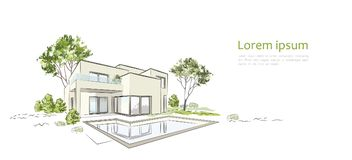 Maison exclusive moderne de croquis architectural de vecteur