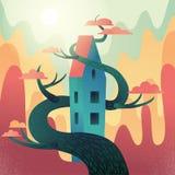 Maison fabuleuse avec le toit, entrelacé avec l'arbre sur des montagnes, fond de collines Le temps d'automne, le soleil chaud de  illustration stock