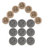 Maison faite à partir des pièces de monnaie bulgares Images stock