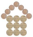 Maison faite à partir des pièces de monnaie japonaises image libre de droits