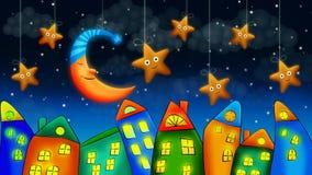 Maison fantastique, belle lune et ?toiles illustration stock