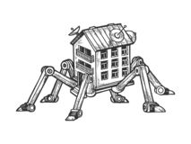 Maison fantastique sur des jambes d'araignée gravant le vecteur illustration stock