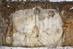Maison grunge abandonnée, mur criqué de stuc de brique Photo libre de droits