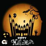 Maison hantée pour la partie heureuse de Halloween Image stock