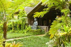 Maison hawaïenne avec la statue dans le kawaii Etats-Unis de jungle photographie stock libre de droits
