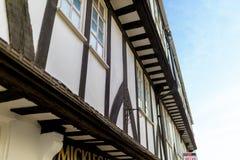 Maison historique de sytle de tudor de bois de construction sur Micklegate à York dans Yorks photographie stock libre de droits