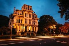 Maison historique le long de Logan Circle la nuit, à Washington, C.C photographie stock libre de droits