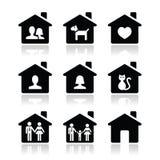 Maison, icônes de famille réglées Photographie stock libre de droits