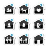 Maison, icônes de famille réglées Images stock