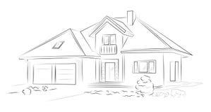 Maison isolée de croquis architectural linéaire illustration stock