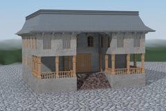 Maison isolée sur des pavés Image stock