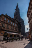 Maison Kammerzell and Notre Dame of Strasbourg royalty free stock photo