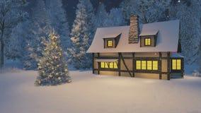 Maison lumineuse et arbre de Noël la nuit chutes de neige illustration libre de droits