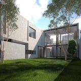 Maison minimaliste moderne d'été illustration de vecteur