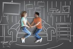 Maison mobile de couples nouvelle Photos stock