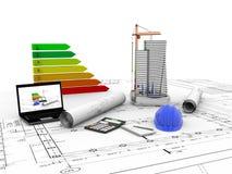 Maison modèle en construction, ordinateur, casque, visualisation 3D Photo libre de droits