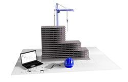 Maison modèle en construction, ordinateur, casque, visualisation 3D Images libres de droits