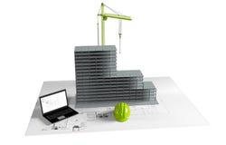 Maison modèle en construction, ordinateur, casque, visualisation 3D Photographie stock libre de droits