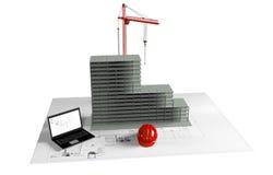 Maison modèle en construction, ordinateur, casque, visualisation 3D Photo stock