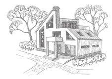 Maison moderne de dessin photo stock. Image du affaires - 26209994