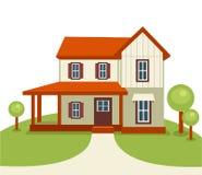 Maison moderne avec les arbres et l'herbe illustration libre de droits