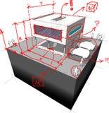 Maison moderne avec les notes de l'architecte illustration libre de droits