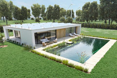 Maison moderne d'eco rendu 3d Image libre de droits