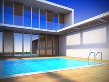 Maison moderne dans le type minimaliste. Photographie stock