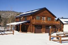 Maison moderne de cabine de logarithme naturel dans les bois de l'hiver Photographie stock
