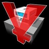 Maison moderne et signe de YEN/YUAN illustration libre de droits