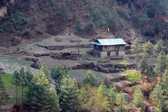 Maison népalaise, région d'Everest, Himalaya Image libre de droits