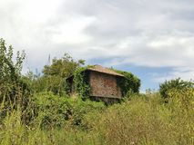 Maison non finie abandonnée entre les arbres et l'herbe et le ciel photographie stock libre de droits