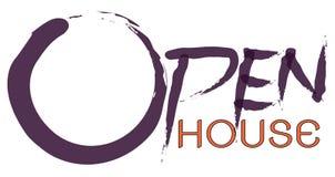 Maison ouverte textotez sur le logo et le fond blanc accrochant de plat, concept d'invitation de maison ouverte Images stock