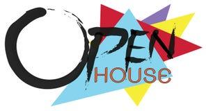 Maison ouverte textotez sur le logo et le fond blanc accrochant de plat, concept d'invitation de maison ouverte Photos libres de droits