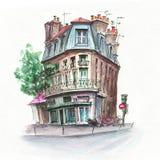 Maison parisienne typique, France illustration de vecteur