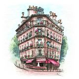 Maison parisienne typique, France images libres de droits