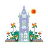 Maison plate de famille de campagne de style avec le concept de pelouse d'arrière-cour Éléments de conception d'architecture Illu Images libres de droits