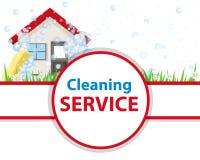 Maison propre d'affiche Bannière pour le nettoyage de service de la publicité illustration libre de droits