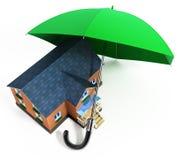 Maison protectrice de parapluie rouge de pluie illustration de vecteur