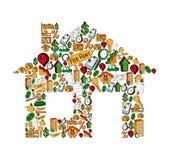 Maison réglée d'icône d'immobiliers Photographie stock libre de droits