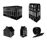 Maison résidentielle dans le style anglais, un cottage avec des vitraux, un bâtiment de café, une hutte en bois architectural illustration de vecteur