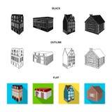 Maison résidentielle dans le style anglais, un cottage avec des vitraux, un bâtiment de café, une hutte en bois architectural illustration libre de droits