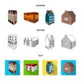 Maison résidentielle dans le style anglais, un cottage avec des vitraux, un bâtiment de café, une hutte en bois architectural illustration stock