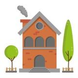 Maison résidentielle plate de brique avec le bâtiment de vecteur d'arbre Image stock